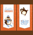 skating and skiing penguins happy winter holidays vector image