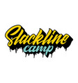 slackline camp yellow and blue lettering logo vector image
