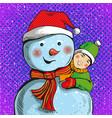 snowman and boy in pop art vector image vector image