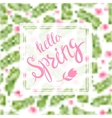 spring blurred background whit lettering vector image vector image