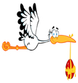 stork flying with easter egg vector image vector image