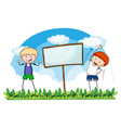 Two boys exercising in the field vector image vector image