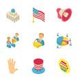 united states icons set isometric style vector image
