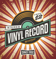vinyl record shop retro sign design vector image vector image