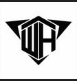 wh logo monogram with wings arrow around design vector image vector image