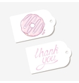 White paper tags in THANK YOU hand drawn vector image vector image