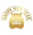 wild boar icon with happy new year logo vector image vector image