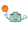 with basketball suitcase character cartoon style vector image