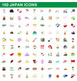 100 japan icons set cartoon style vector image vector image
