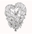a pair of beautiful unicorns with long mane vector image vector image