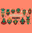 african ancient masks tribe ethnic mask ritual vector image vector image