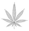 black and white hemp leaf vector image