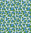 blue floral seamless pattern - flower with leaves vector image vector image