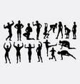 body building activity silhouette vector image
