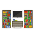 bookcases with tv home library or hotel room vector image