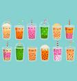 bubble tea mascots cute bubble milk tea matcha vector image vector image