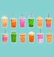bubble tea mascots cute milk tea matcha vector image vector image