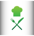 Chef with knife and fork sign vector image vector image