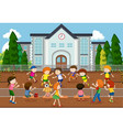 children playing soccer outside vector image