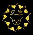 christmas deer face cartoon vector image