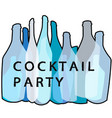 cocktail party blue poster vector image vector image