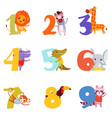 colorful numbers from 1 to 9 and animals cartoon vector image vector image