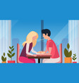 couple eating spaghetti together happy valentines vector image vector image