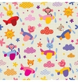 cute animals in airplanes kids pattern vector image vector image