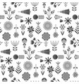 Cute monochrome pattern with flat flowers