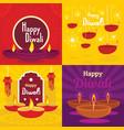 diwali banner set flat style vector image
