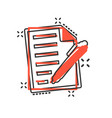 document with pen icon in comic style notepad vector image vector image