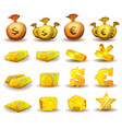 gold credit money coins set for game interface vector image