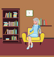 grandmother sits in an armchair vector image