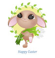 greeting card with easter rabbit funny easter vector image vector image