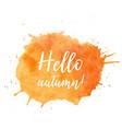 hello autumn text plate hello autumn text vector image vector image