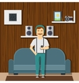Hipster Guy Character At Home vector image vector image