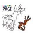 horse cartoon coloring page vector image