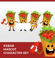 kebab mascot character set logo icon vector image