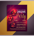lovely christmas party flyer with balls and vector image vector image