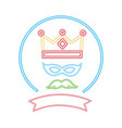 party crown mask mustache label neon night vector image