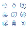 people icons set included icon as click hand vector image vector image
