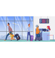 people in airport departure terminal wait vector image vector image
