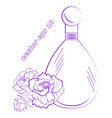 perfume bottle with peony flowers bud and leaves vector image vector image