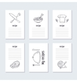 Recipe cards collection with hand drawn food vector image vector image