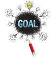 red pencil idea concept blue goal business vector image vector image