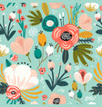 seamless pattern with flowerspalm branch leaves vector image