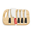set of kitchen knives on a board top view vector image