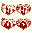 Set of silhouettes hearts vector image vector image