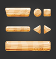 Set of wooden button for game design-4 vector image vector image