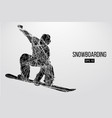 Silhouette of a snowboarder jumping isolated
